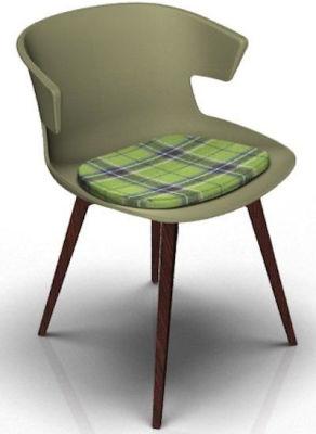 Elegante Designer Chair With Seat Pad - Green And Wenge Tartan Green