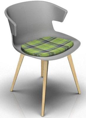 Elegante Designer Chair With Seat Pad - Grey And Beech Tartan Green