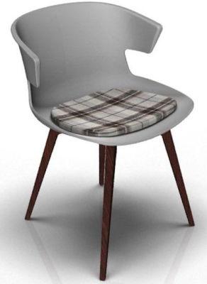 Elegante Designer CHair With Seat Pad - Grey And Wenge Tartan Brown