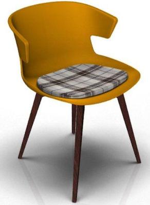 Elegante Designer Chair With Seat Pad - Orange And Wenge Tartan Brown