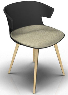 Elegante Designer Chair With Large Seat Pad - Anthracite And Beech Night Beige