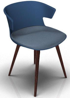 Elegante Designer Chair With Seat Pad - Blue And Wenge Pigeon Blue