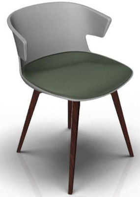 Elegante Designer Chair With Seat Pad - Grey And Wenge Grey Green