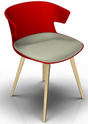 Elegante Designer Chair With Seat Pad - Red And Beech Grey