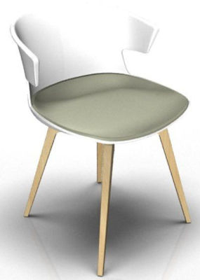 Elegante Designer Chair With Seat Pad - White And Beech Grey Olive