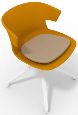 Elegante Spider Base Chair - Ochre Beige White