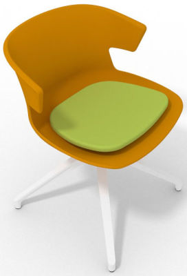Elegante Spider Base Chair - Ochre Green White