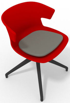 Elegante Spider Base Chair - Red Grey Shadow Grey