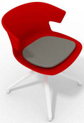 Elegante Spider Base Chair - Red Grey White