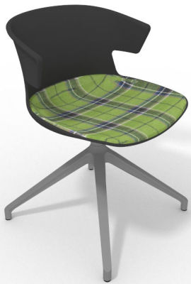Elegante Spider Base Chair - Anthracite Tartan Grey Aluminium