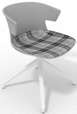 Elegante Spider Base Chair - Grey Tartan Grey White