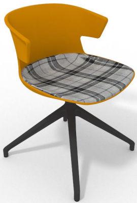 Elegante Spider Base Chair - Ochre Tartan Grey Shadow Greay