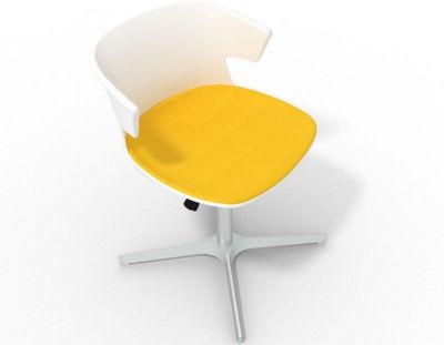 Elegante 4 Star Base Chair - White Yellow Aluminium