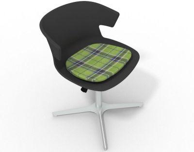 Elegante 4 Star Base Chair - Anthracite Tartan Green Aluminium