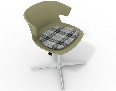 Elegante 4 Star Base Chair - Green Tartan Grey Aluminium