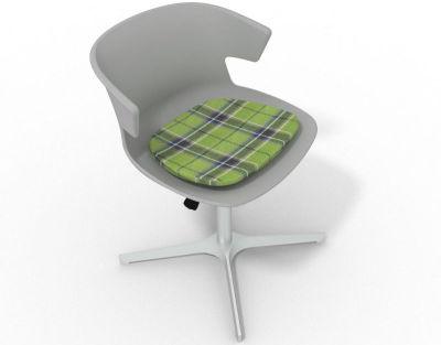 Elegante 4 Star Base Chair - Grey Tartan Green Aluminium