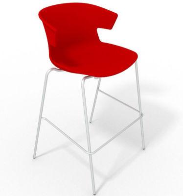 Elegante 4 Leg Bar Stool - Red