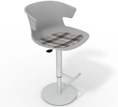 Elegante Height Adjustable Swivel Bar Stool - Feature Seat Pad Grey Brown