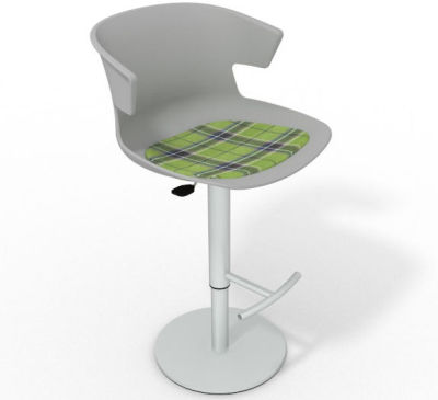 Elegante Height Adjustable Swivel Bar Stool - Feature Seat Pad Grey Green