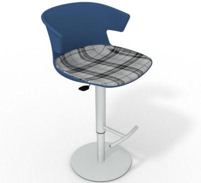 Elegante Height Adjustable Swivel Bar Stool - Large Feature Seat Pad Blue Grey