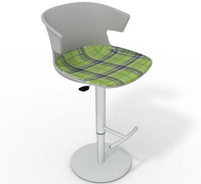 Elegante Height Adjustable Swivel Bar Stool - Large Feature Seat Pad Grey Green