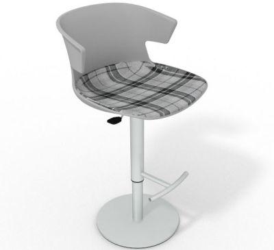 Elegante Height Adjustable Swivel Bar Stool - Large Feature Seat Pad Grey Grey