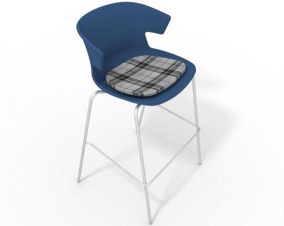 Elegante 4 Leg Bar Stool - With Feature Seat Pad Blue Grey