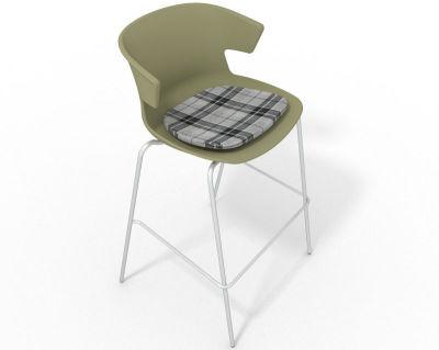 Elegante 4 Leg Bar Stool - With Feature Seat Pad Green Grey