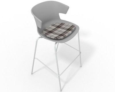 Elegante 4 Leg Bar Stool - With Feature Seat Pad Grey Brown