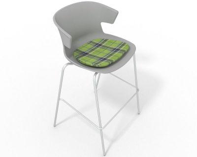 Elegante 4 Leg Bar Stool - With Feature Seat Pad Grey Green