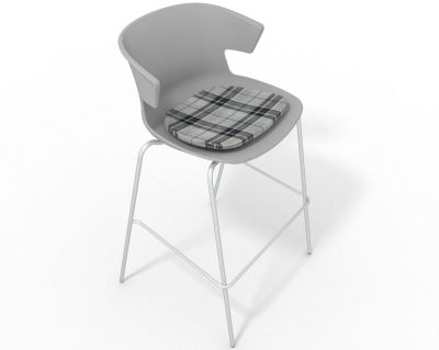 Elegante 4 Leg Bar Stool - With Feature Seat Pad Grey Grey