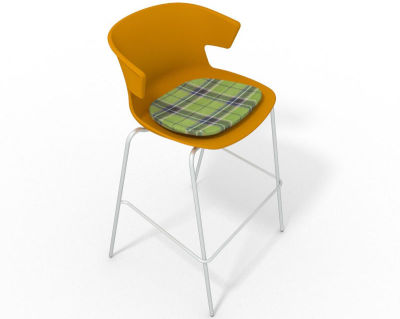 Elegante 4 Leg Bar Stool - With Feature Seat Pad Ochre Green