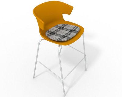 Elegante 4 Leg Bar Stool - With Feature Seat Pad Ochre Grey