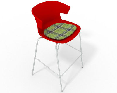 Elegante 4 Leg Bar Stool - With Feature Seat Pad Red Green