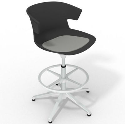 Elegante Height Adjustable Drafting Stool - With Seat Pad Anthracite Grey White