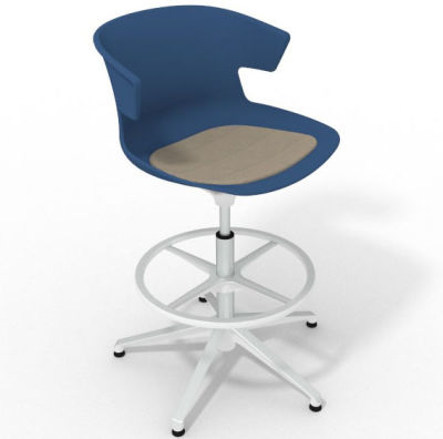 Elegante Height Adjustable Drafting Stool - With Seat Pad Blue Dove Grey White
