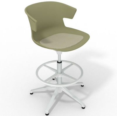 Elegante Height Adjustable Drafting Stool - With Seat Pad Green Beige White