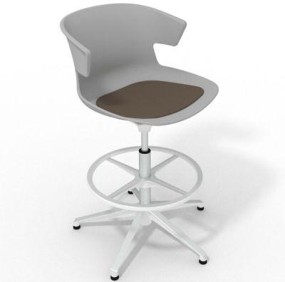 Elegante Height Adjustable Drafting Stool - With Seat Pad Grey Brown White