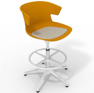 Elegante Height Adjustable Drafting Stool - With Seat Pad Ochre Beige White