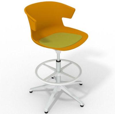 Elegante Height Adjustable Drafting Stool - With Seat Pad Ochre Light Green White