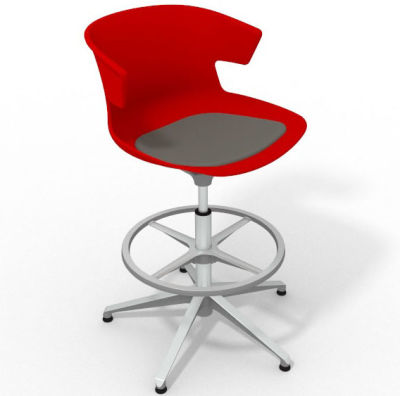 Elegante Height Adjustable Drafting Stool - With Seat Pad Red Dark Grey Aluminium
