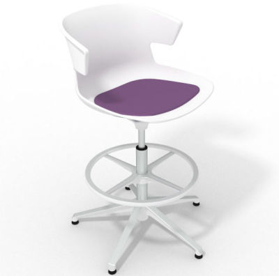 Elegante Height Adjustable Drafting Stool - With Seat Pad White Violet White