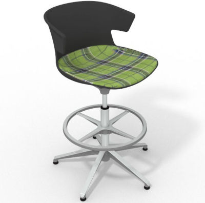 Elegante Height Adjustable Drafting Stool - With Large Feature Seat Pad Anthracite Green Aluminium