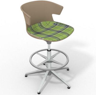 Elegante Height Adjustable Drafting Stool - With Large Feature Seat Pad Beige Green Aluminium