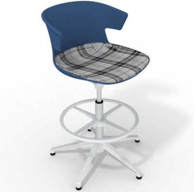 Elegante Height Adjustable Drafting Stool - With Large Feature Seat Pad Blue Grey White