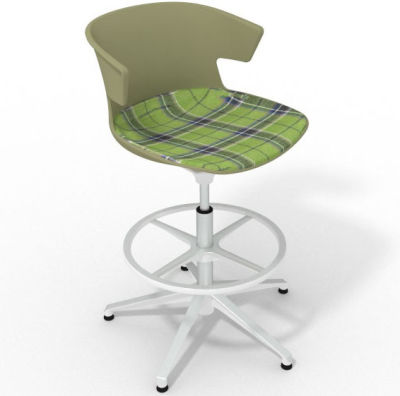 Elegante Height Adjustable Drafting Stool - With Large Feature Seat Pad Green Green White