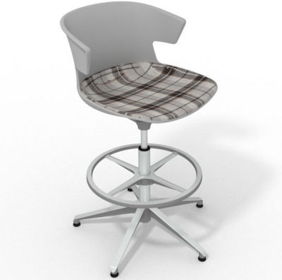 Elegante Height Adjustable Drafting Stool - With Large Feature Seat Pad Grey Brown Aluminium
