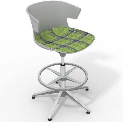Elegante Height Adjustable Drafting Stool - With Large Feature Seat Pad Grey Green Aluminium