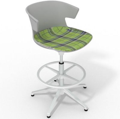 Elegante Height Adjustable Drafting Stool - With Large Feature Seat Pad Grey Green White