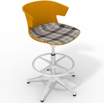 Elegante Height Adjustable Drafting Stool - With Large Feature Seat Pad Ochre Brown White